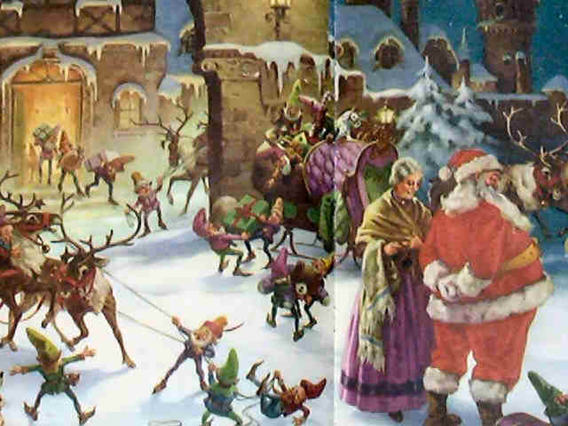 the elves are putting christmas toys in the sleigh